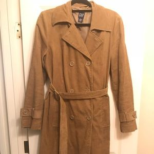 Women's GAP Corduroy Double Breasted Trench Coat